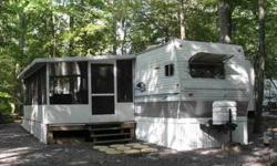 For Sale 40 ft 2006 Nomad Platinum Edition Model 3800 24x10 Deck & Aluminum screen room. Large Stoned site 2 Bedroom- one triple bunk room & rear master with queen bed. Front kitchen layout with lots of open space. Free standing table & 4 chairs. Cherry