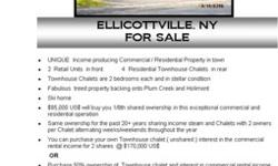 Ellicottville, NY....Fabulous commercial / residential property with 2 bdrm Townhouse Chalet in town. Stellar condition. Extra parking. Super treed property backs onto Plum Creek and Holimont. Ski home. $ 85,000 US$. Fractional ownership. 26