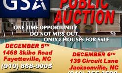 GSA will be hosting a live auction event for four beautiful homes in the Fayetteville and Jacksonville area. These homes are owned by the Army Corps of Engineers and were purchased from eligible military families as part of the Homeowners Assitance